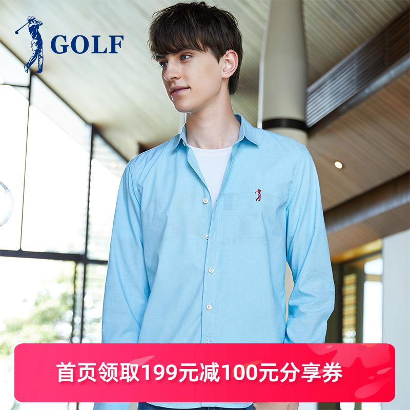 高尔夫GOLF2020新款 100%纯棉 商务休闲修身保暖打底长袖男士衬衣图片