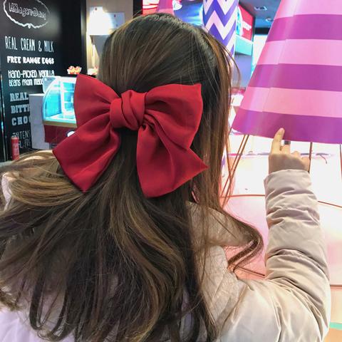 韩国大蝴蝶结发夹后脑勺lolita发饰女红色顶夹发绳日系jk发卡夹子