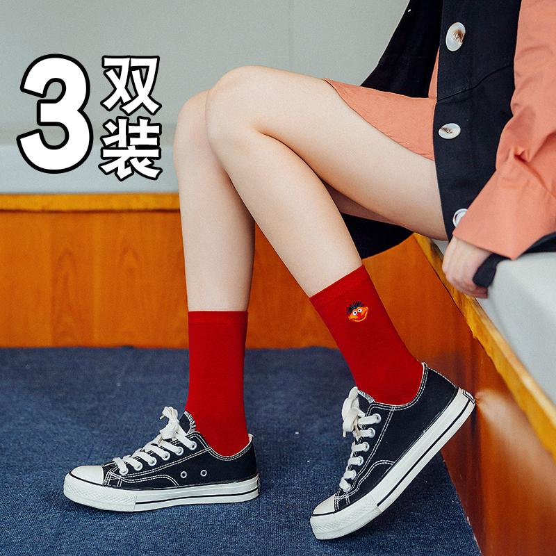 袜子女中筒袜学院风韩版夏季薄款长袜子潮街头ins春秋季红色棉袜