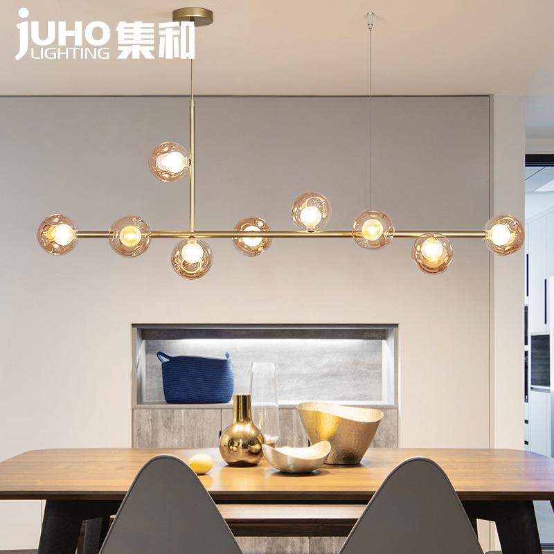 北欧长条吊灯客厅网红玻璃球魔豆吧台咖啡厅灯后现代简约餐厅灯具