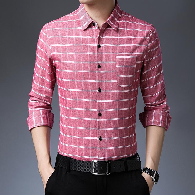 QT2013 D1813 P70 19秋款衬衫男条纹纯棉商务休闲格子长袖衬衫