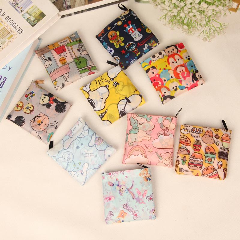 可爱卡通折叠购物袋便携单肩中号超市环保袋买菜包大布兜手提袋子