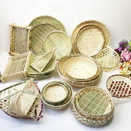 手工竹篓小簸箕编制品 家用竹篮子收纳筐竹匾托盘果篮 果盘馒头筐