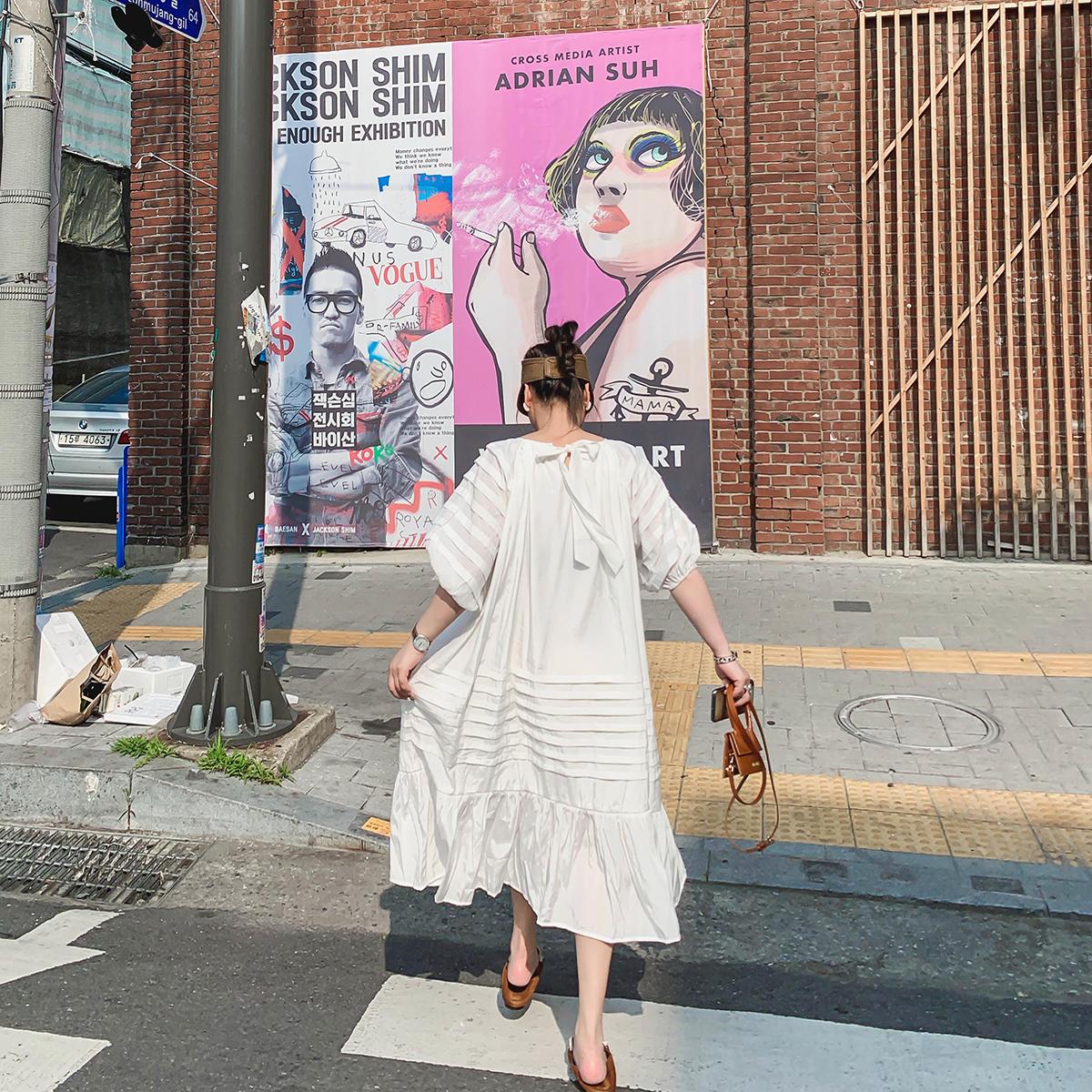 晶咕家裙子女2019新款夏季流行连衣裙中长款韩版宽松显瘦女装长裙