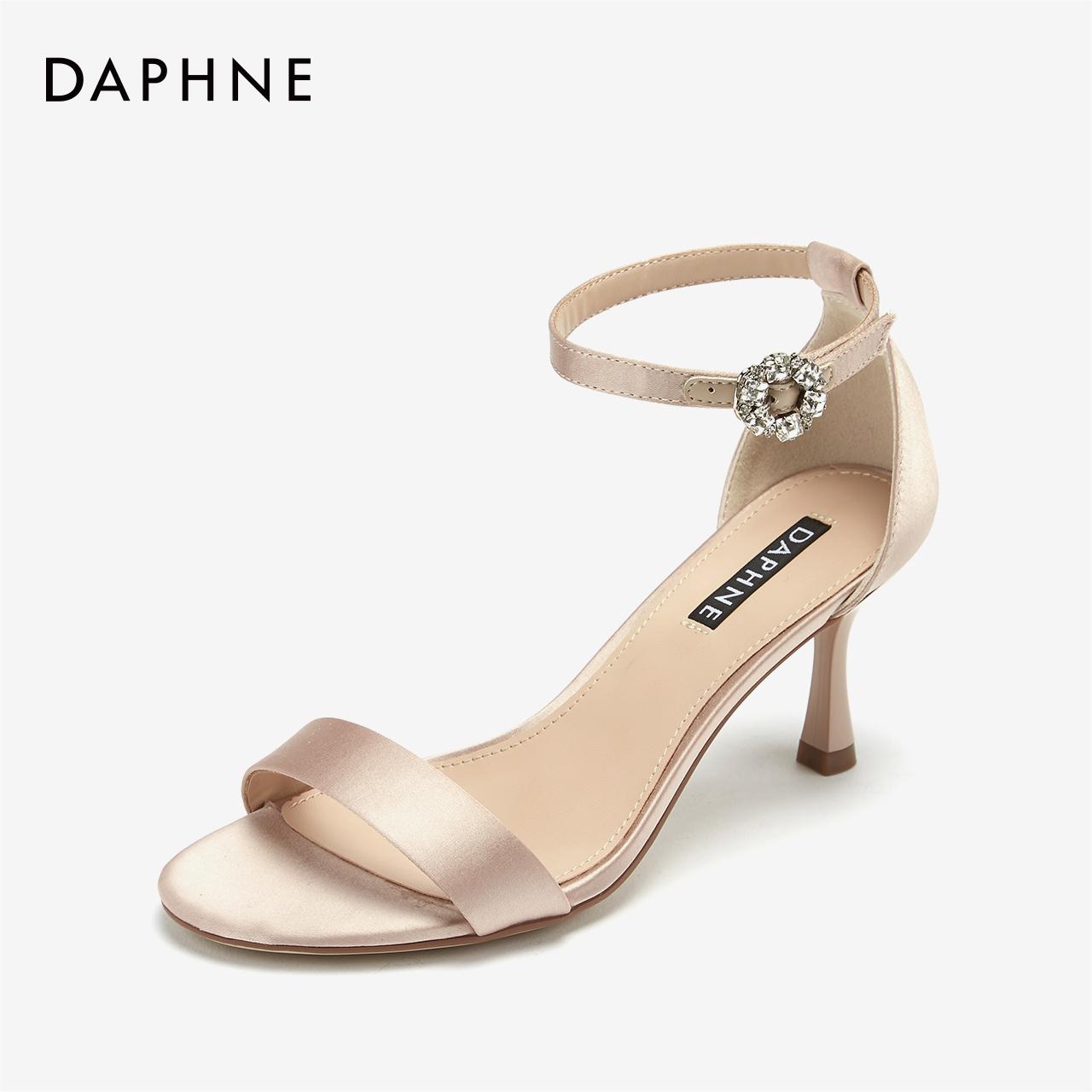 达芙妮2019夏新款凉鞋女鞋 优雅钻扣踝带高跟缎面酒杯跟宴会婚鞋