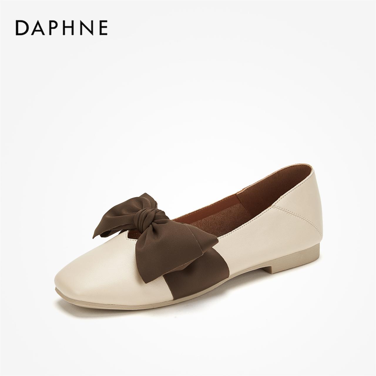 达芙妮秋复古大结饰奶奶鞋女小清新双穿方头玛丽珍鞋平底单鞋