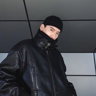 物空宋松 韩国潮男冬装加厚加绒麂皮羊羔绒皮毛一体皮衣机车夹克