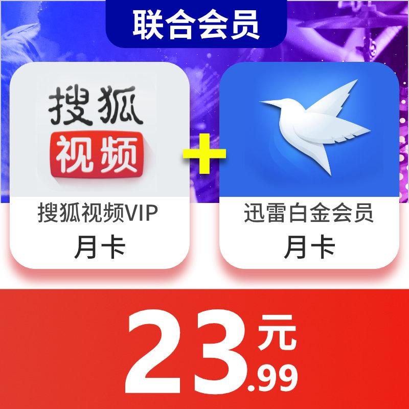 【填手机号】搜狐视频vip会员1个月卡+迅雷白金会员月卡组合 直充