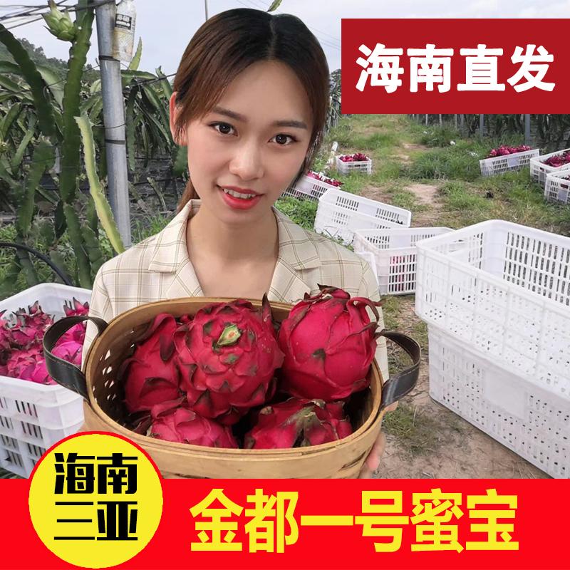 海南三亚金都一号红心火龙果5斤特大果新鲜蜜宝红肉水果空运包邮12月02日最新优惠