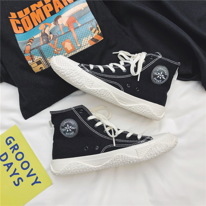 Hong Kong Style Mens new mid high top canvas shoes in autumn 2020
