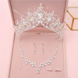 韩式新娘皇冠头饰巴洛克大气公主生日王冠三件套婚纱礼服影楼配饰