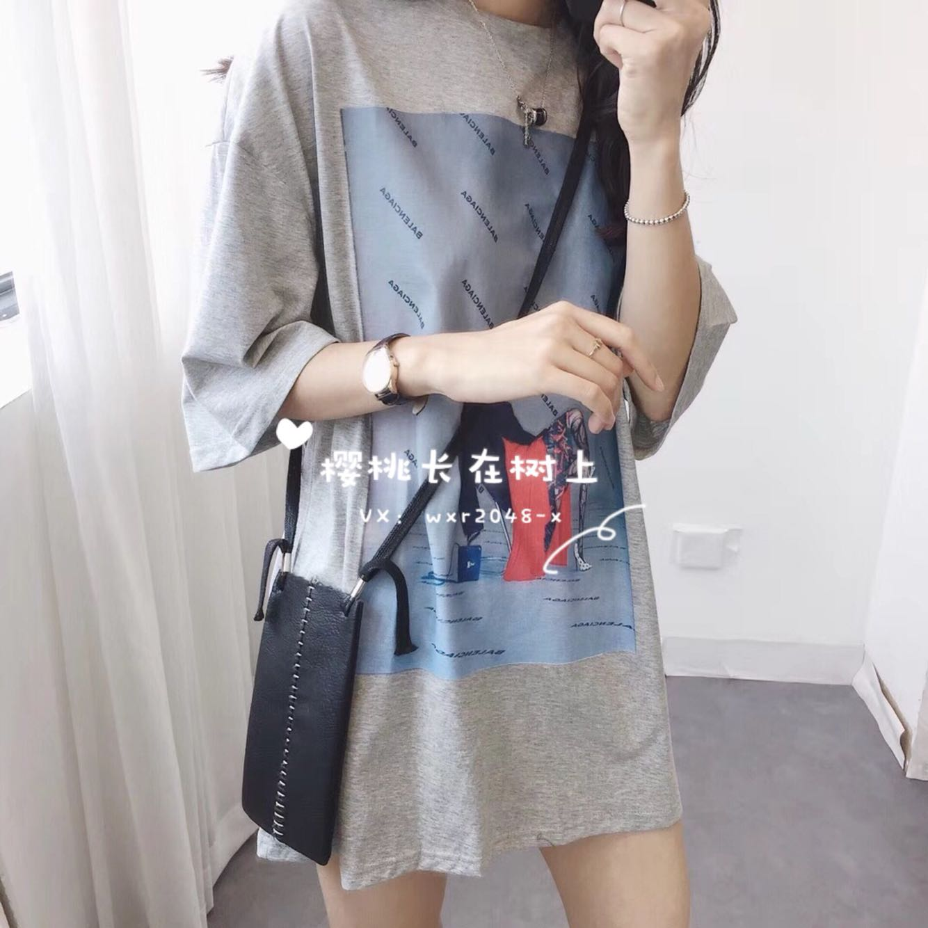 B家贴布长款下衣失踪T恤t-shirt短袖女韩版宽松原创设计新品热销
