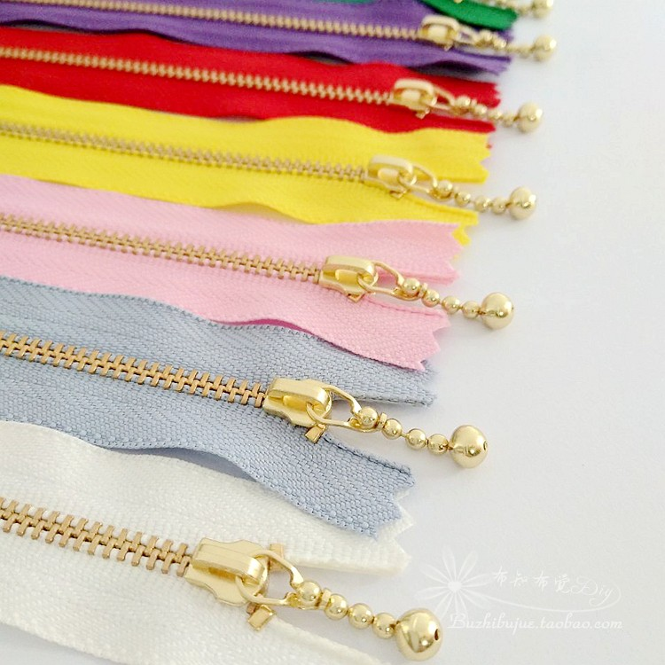 YKK zipper 12 / 15cm light gold teeth No.3 water drop head closed tail metal zipper hand DIY bag accessories