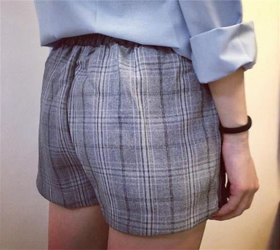 Luolok customized mid waist gray Plaid side split loose elastic waist Suit Shorts for women