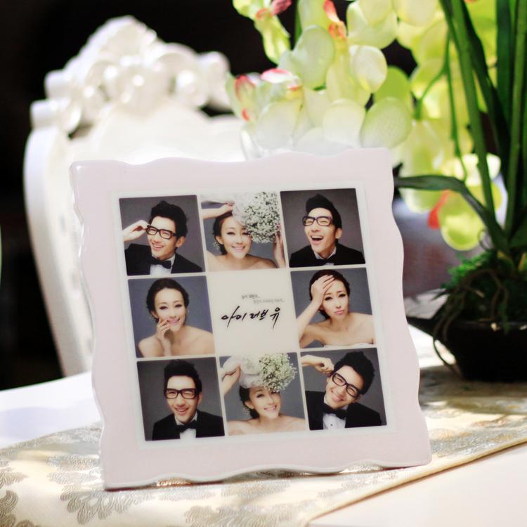 Фото Maker Корейский Кристалл Настроить Свадебное фото Увеличить интерьер Микки фарфоровый фото пользовательский фоторамка печать