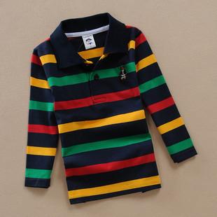童裝3-15歲中大童男童長袖條紋t恤純棉兒童春裝男POLO打底衫有領