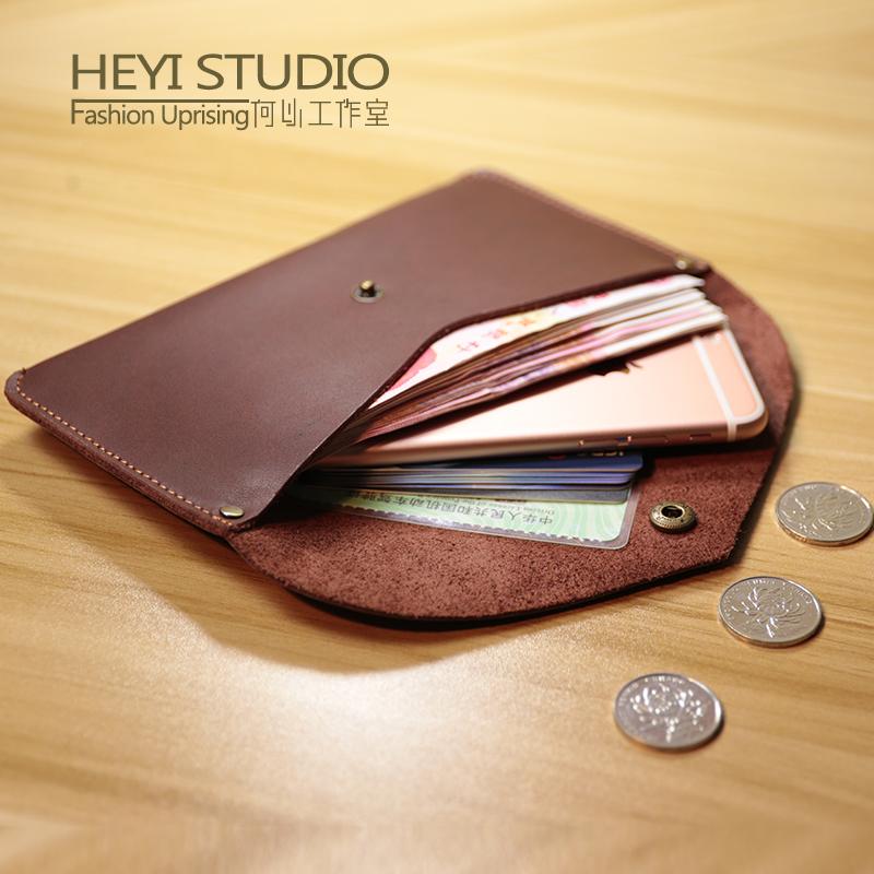 头层牛皮手工长款女士手拿钱包真皮复古钱夹男式简约零钱包手机包