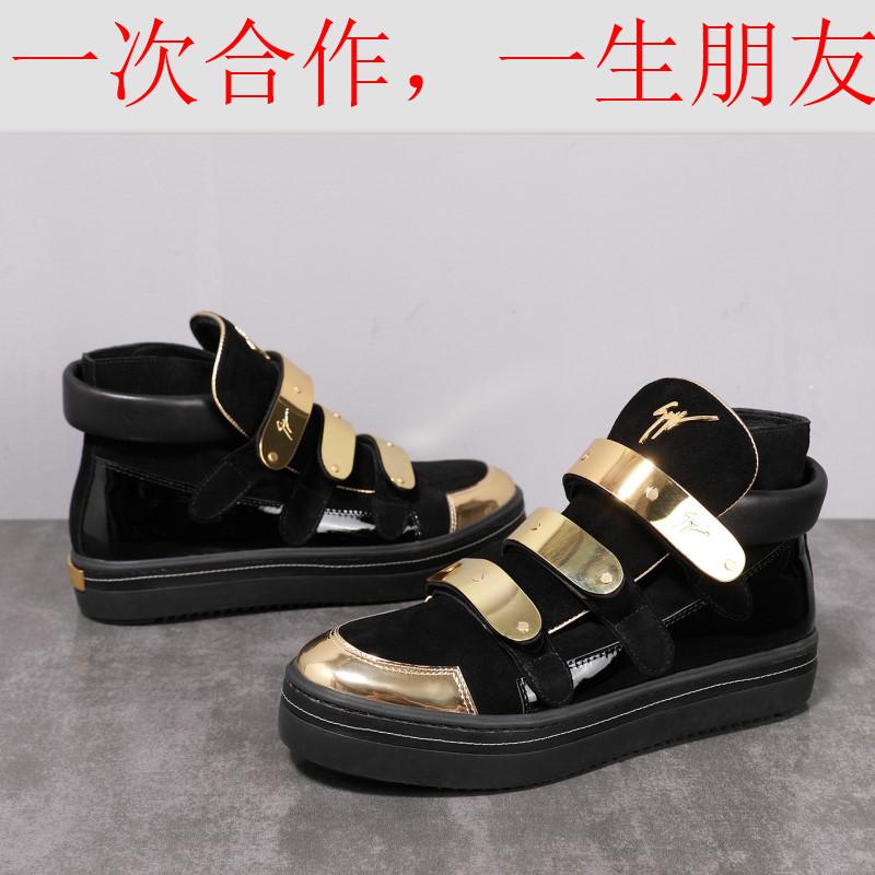 新款GZ金属搭扣男英伦休闲时尚潮流真皮耐磨潮男高帮鞋子三金扣