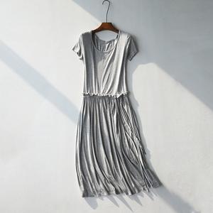 秋冬女装新款莫代尔短袖连衣裙 韩版系带修身弹力针织打底中长裙