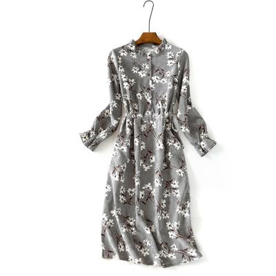 秋季复古长袖碎花连衣裙小清新系带收腰口袋灯心绒印花开扣中长裙