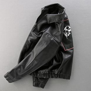 潮流寬鬆皮衣男加絨加厚PU皮衣服飛行員印花潮男機車服皮夾克外套