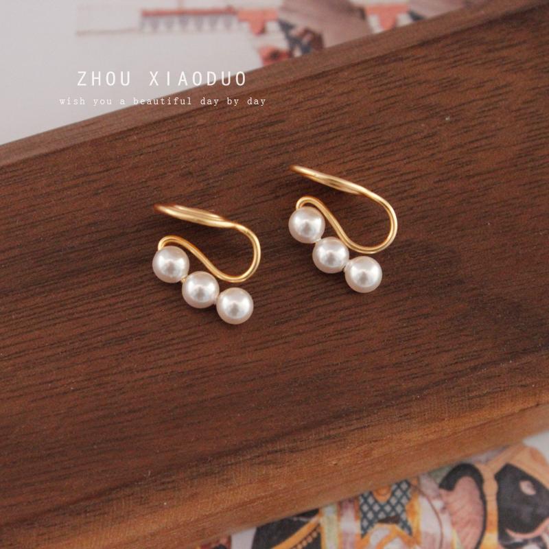 原创设计三颗珍珠耳钉无耳洞不痛蚊香盘耳夹免打孔气质女耳饰包邮图片