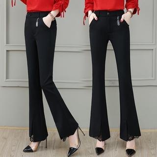 黑色云朵裤子女装2020年新款流行春季百搭高腰休闲微喇叭裤小个子