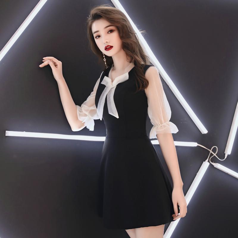 宴会晚礼服女2020新款黑色派对洋装小礼服名媛短款连衣裙气质显瘦