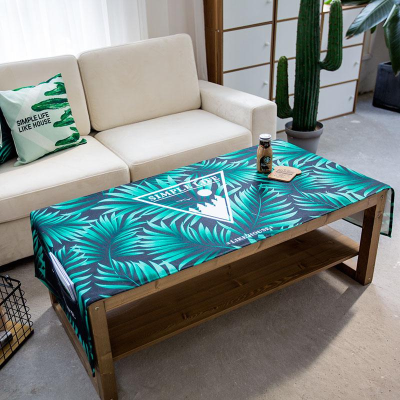 Нордический простой зеленый завод кофейный столик полотенце двойная дверь холодильник универсальный обложка тканевая прямоугольник льняная ткань пыленепроницаемый масло крышка