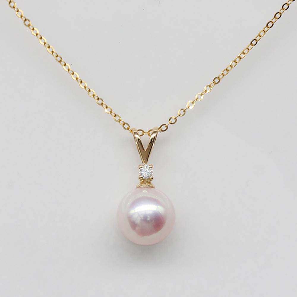 18k金天然珍珠吊坠项链锁骨链大一颗女圆形莫桑钻石日本海水akoya