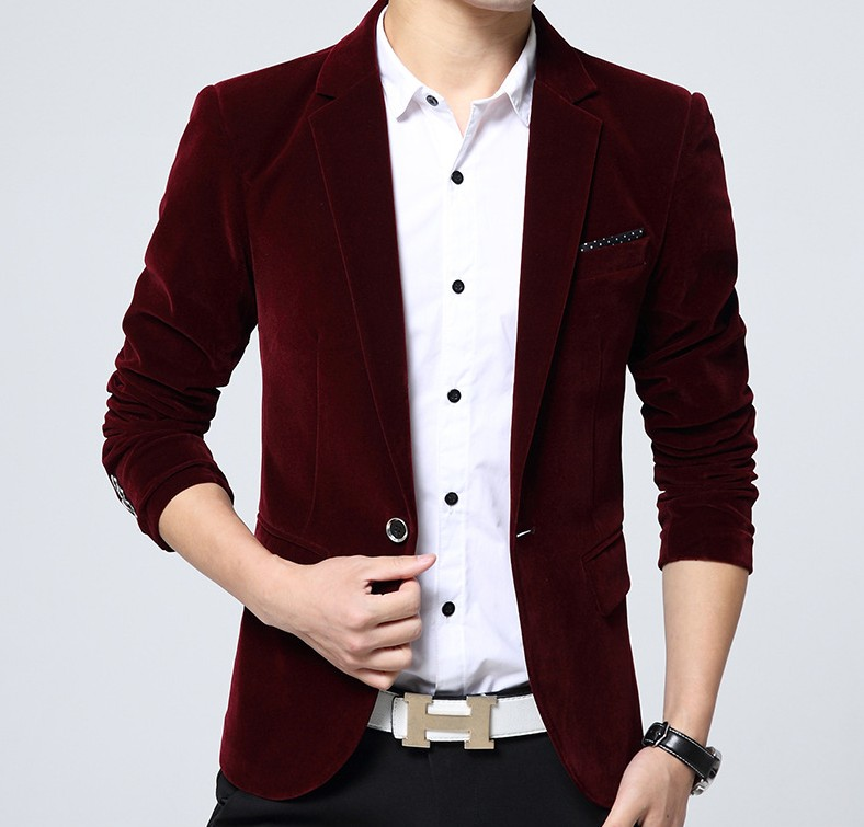 Spring 2020 new mens golden velvet Velour slim fit casual Korean small suit mens coat suit