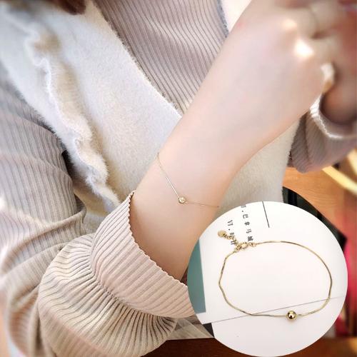 韩国正品14K纯黄金手链 质感细蛇链 金珠 圆链K金女 简约辅助链