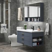 卡贝太空铝浴室柜一体阳台洗衣机柜子带搓板台盆柜组合洗衣柜伴侣