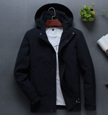 Jeeiplion mens Jacket Large hooded elastic top thin spring and autumn new mens casual coat