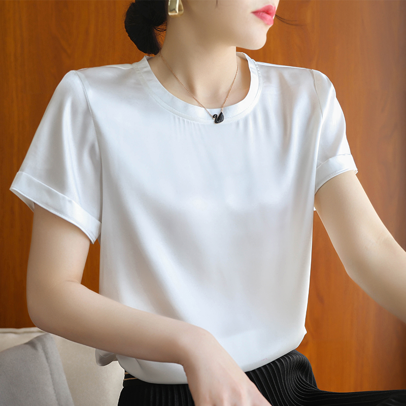 2019 summer new silk gongsatin short sleeve T-shirt short fashion versatile temperament loose solid color top female