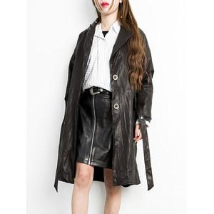 纳兰熏 完全不一样的风格~蜡感做旧风绵羊皮长款风衣外套女