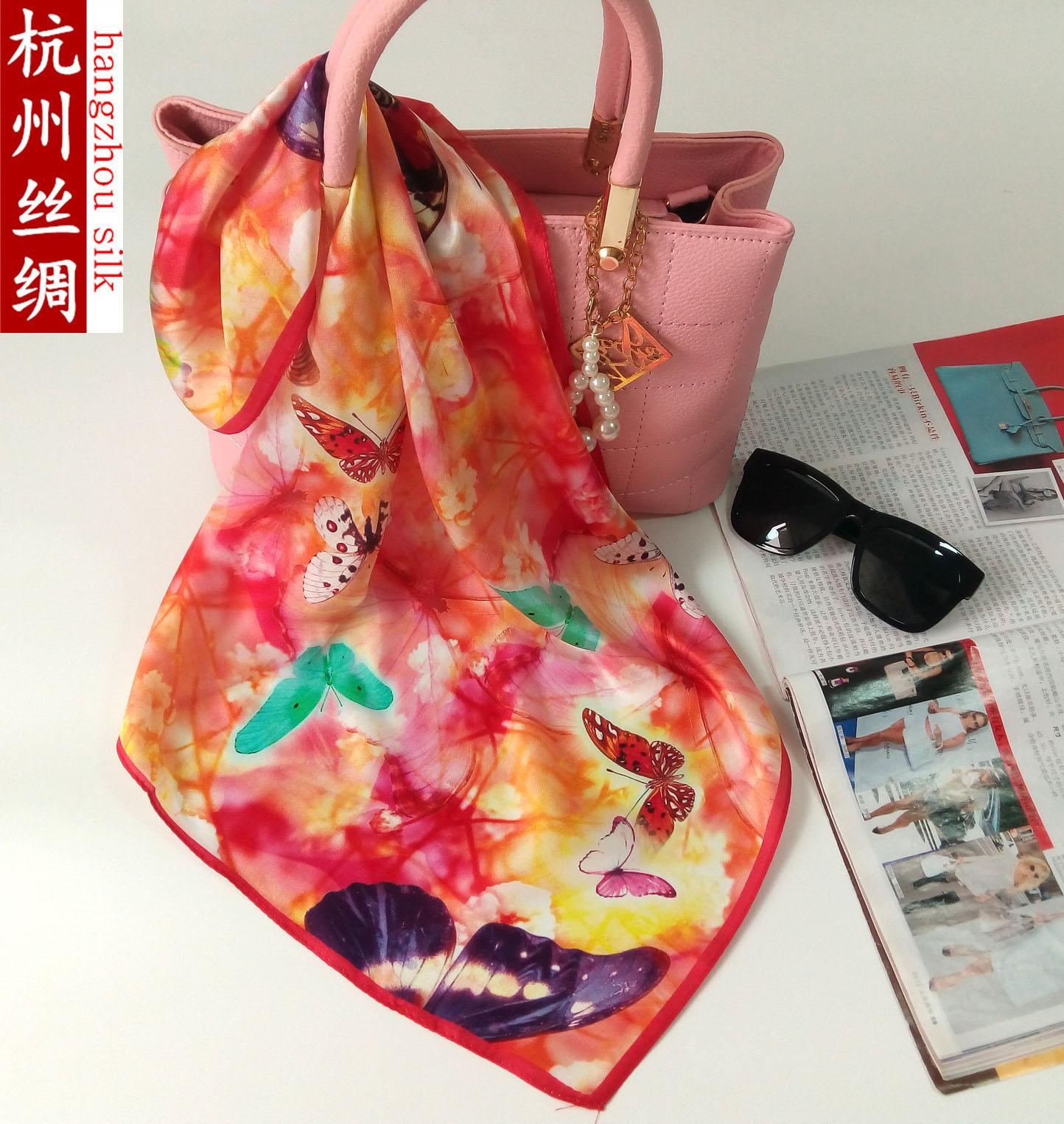 Hangzhou silk plain crepe satin silk scarf Real Silk Scarf 100% mulberry silk scarf small square scarf Bib bag silk scarf