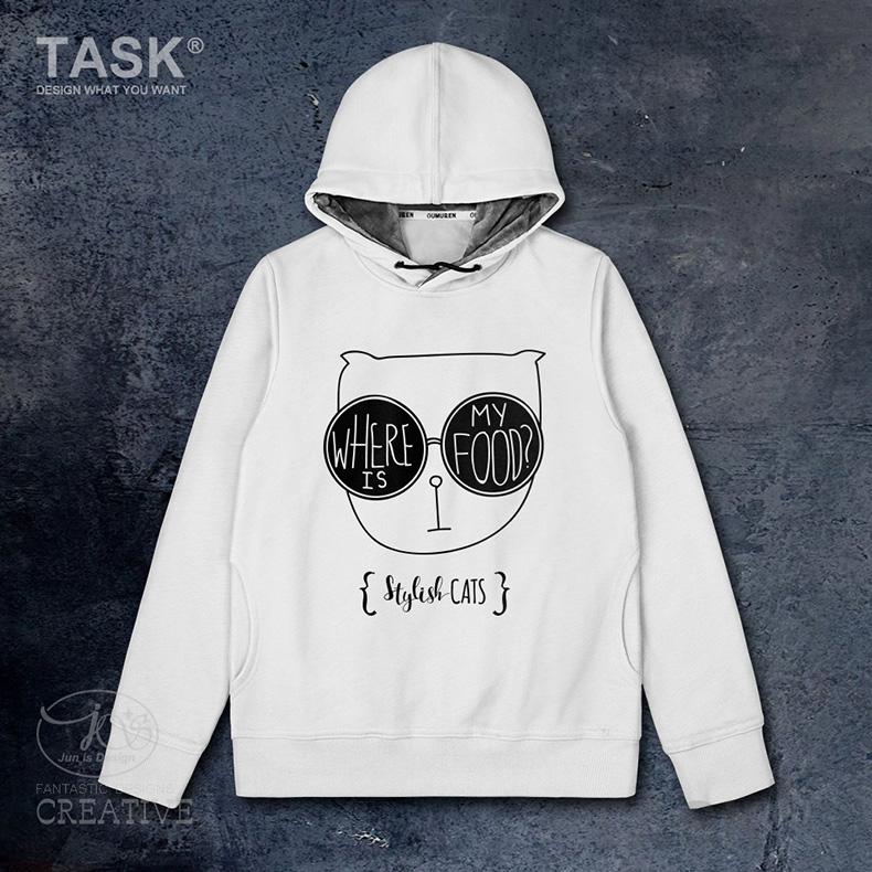 TASK原创黑白时尚猫咪我的食物在哪里英文创意连帽卫衣男女外套冬