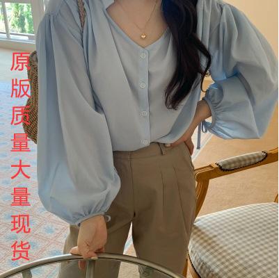 优质现货 韩系chic百搭减龄显白别致领口宽松绑带长袖衬衫上