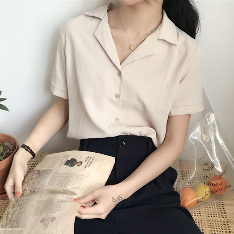 夏季新款女装韩版chic宽松百搭气质西装领短袖雪纺衬衫女纯色上衣
