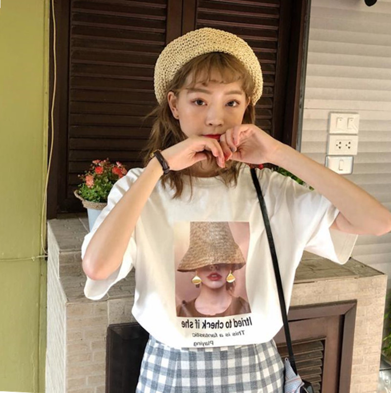 粉色t恤短袖女純棉寬松韓版2020年夏季新款半袖印花上衣體恤ins潮