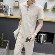 中国风夏棉麻套装亚麻体恤男九分裤