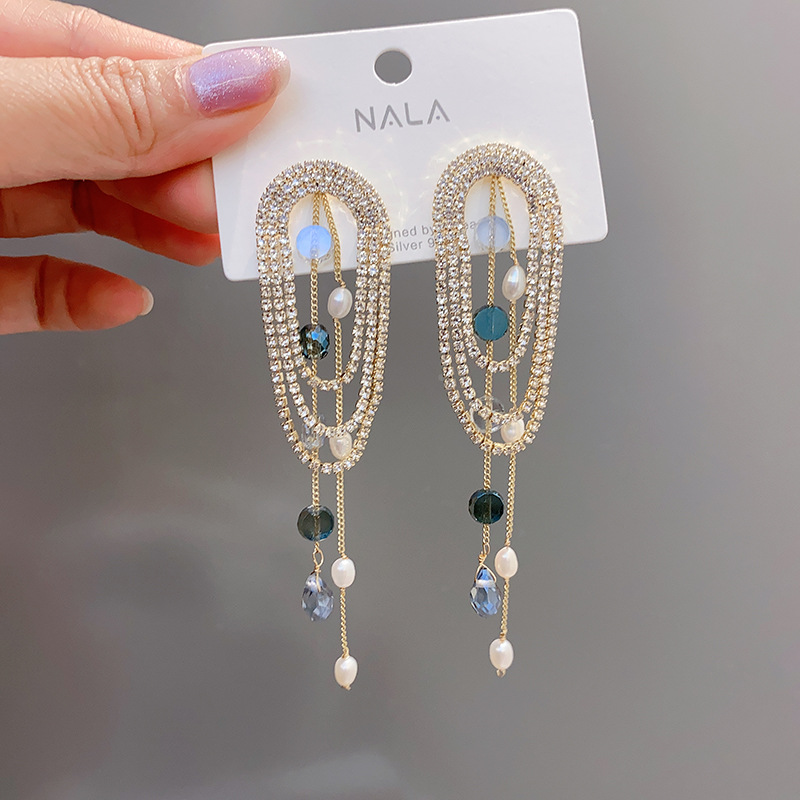 S925 silver needle luxury celebrity dinner ear accessories multi-layer tassel oval diamond pearl long national style earrings