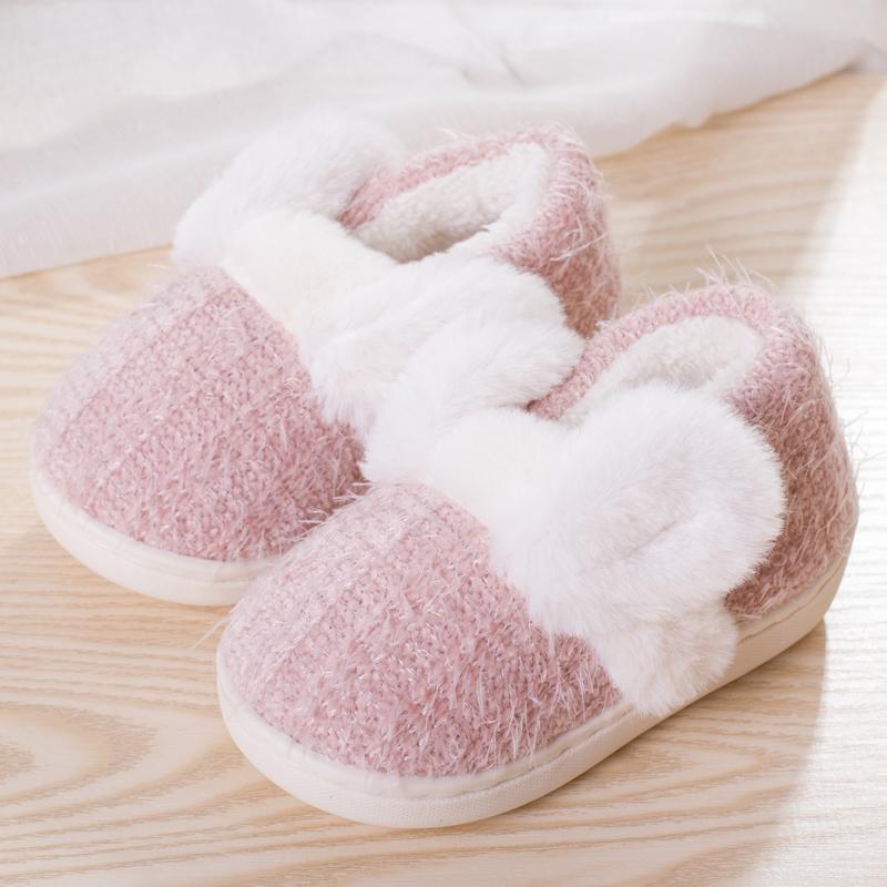儿童棉拖鞋1-3-5岁穿包跟女童男童可爱冬季室内保暖厚底加绒棉鞋