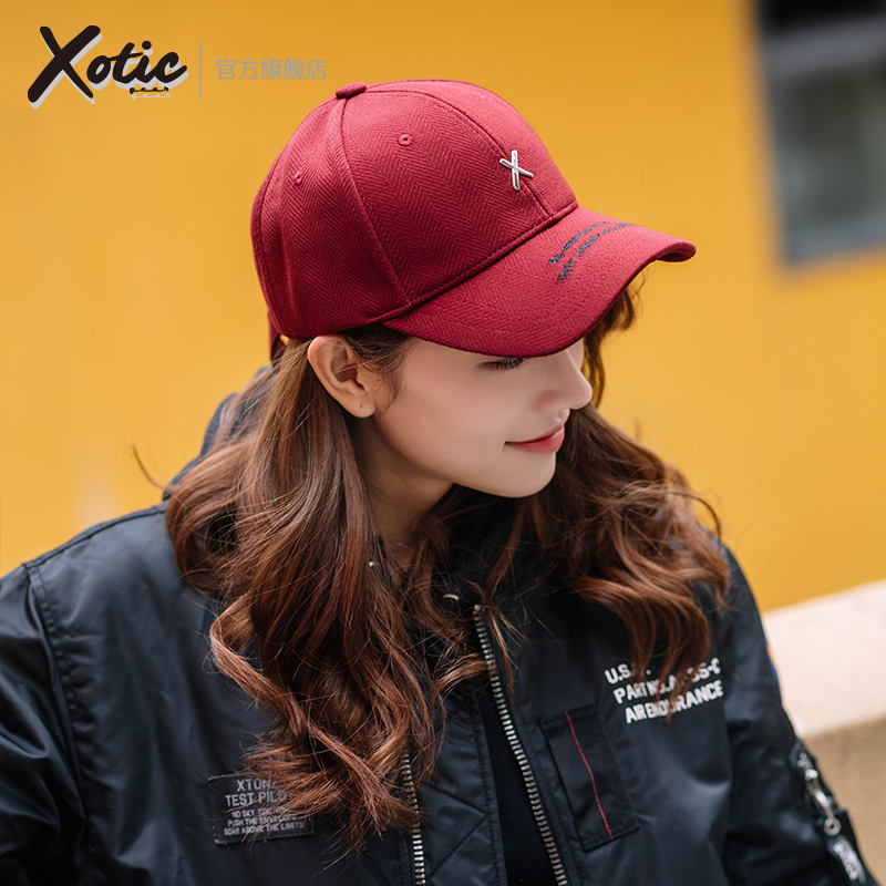 Xotic official happy style herringbone leather long belt Taiwan baseball cap cap cap cap sun proof spring and summer hat for men and women