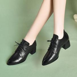 英伦小皮鞋女春秋单鞋软皮中跟粗跟2020秋季新款深口真皮女鞋秋款