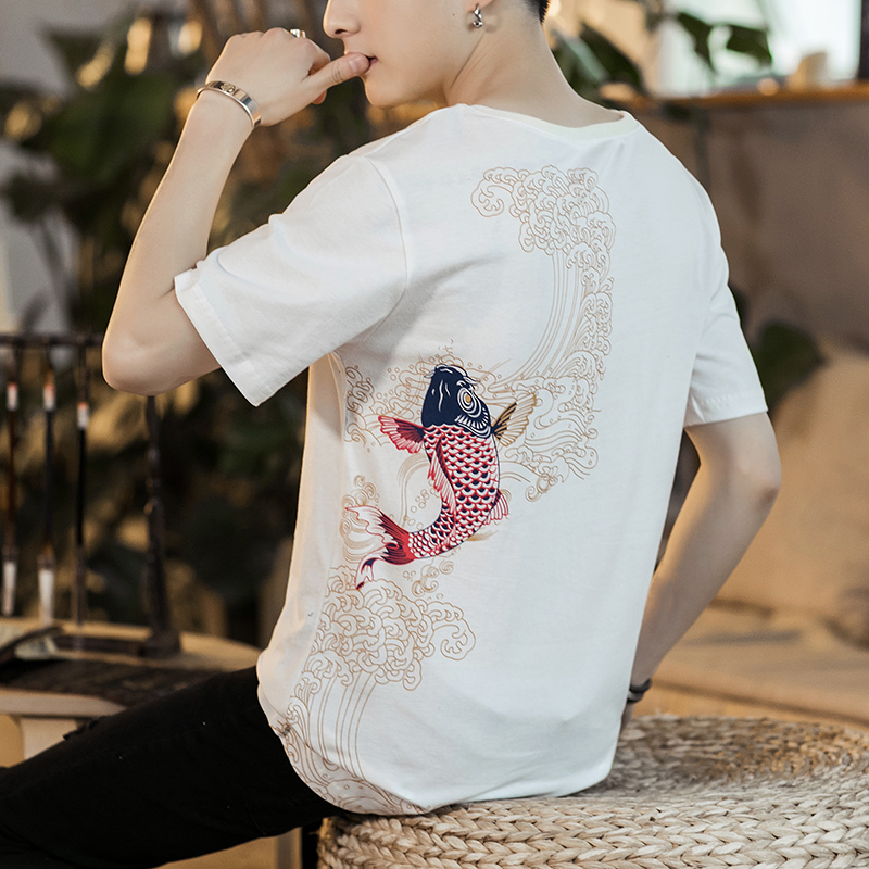 Mens short sleeve 2020 new Chinese style Koi embroidery T-shirt summer trend round neck loose boy half sleeve