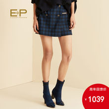Shopping mall same style with wool fabric EP YAYING 19 autumn and winter women's Retro Plaid slim casual shorts 6208b