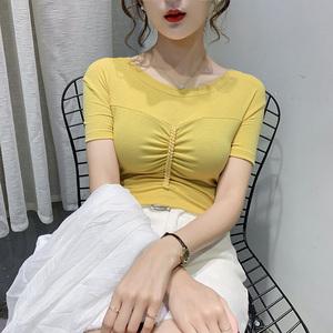 2020年夏季新款網紅ins超火緊身圓領半袖chic上衣短袖t恤女裝潮