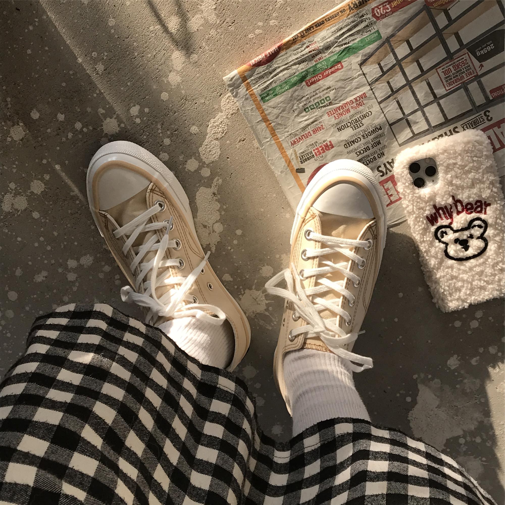 小黄桃韩国ulzzang万年款帆布鞋米黄色常青板鞋学生党百搭女板鞋图片